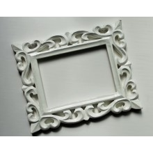 "Deco White Glossy Finish Vine Carved Vintage Rectangle Frame 10""x8"""