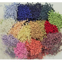 Matte Pastel Assorted 15 Colors Pack 2mm Head Size Flower making Stamens Stiff Thread Pollens