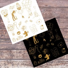 "Gold Foiled Black & White My Love Chipboards 8""x8"" Pack of 2"