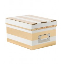 2 Box - White & Gold Foil Wide Stripes Storage Box Pack of 2 Boxes By American Crafts