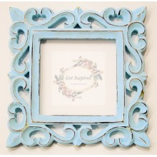 "Deco Blue Vine Carved Vintage Square Frame 8""x8"""