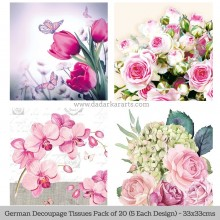 Blush Cluster German Tissue Pk/20 (5 Designs Each) 33x33cms By Ambiente Luxury papers