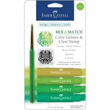 Mix & Match Gelatos & Stamp Kit Green Shades By Faber Castell