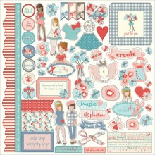 "Julie Nutting Elements Paper Dolls Stickers 12""X12"""