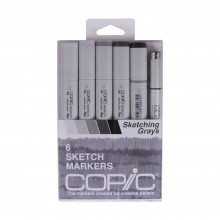 Copic Sketch Markers 5/Pkg W/Multiliner Pen Sketching Grays