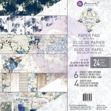"Georgia Blues, 6 Foiled Designs/4 Each Prima Marketing Double-Sided Paper Pad 12""X12"" 24/Pkg"