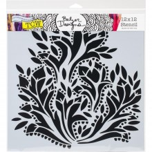 "Stencil 12""X12"" Crafter's Workshop Template - Dramatic Floral"