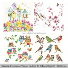 Chirping Birds German Tissue Pk/20 (5 Designs Each) 33x33cms By Ambiente Luxury papers