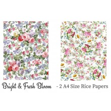 Bright & Fresh Bloom Pack of 2 Rice Paper A4 By Get Inspired