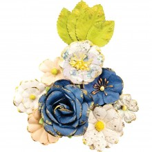 Monroe Prima Marketing Georgia Blues Mulberry Paper Flowers 12/Pkg
