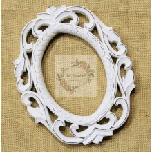 "Deco White Vine Carved Vintage Oval Frame 10""x8"""