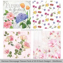 Floral 2 German Tissue Pk/20 (5 Designs Each) 33x33cms By Ambiente Luxury papers