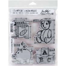 "Childhood Blueprint Tim Holtz Cling Stamps 7""X8.5"""