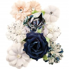 Mitchell Prima Marketing Georgia Blues Fabric Flowers 9/Pkg