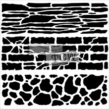 "Stencil Crafter's Workshop Template 12""X12"" - Rock Wall"