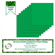 "Bottle Green 12""x12"" The Secret Garden Cardstock For Flower Making Pack of 10 Sheets"