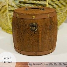 "Grace Wooden Barrel 6""x 6"" by Decorate Your World Collection By Get Inspired"