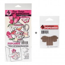 Tea Party Art Impressions PopCard Stamp & Die Set + Popup Card Template Dies
