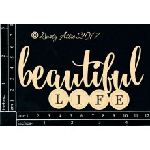 "Beautiful life Black 6""x3"" Chipboards"