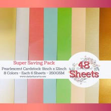 Pearlescent Cardstocks Super Saving Pack of 8 Colors - 48 Sheets