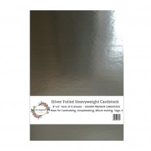 "Silver Foiled Heavyweight Cardstock 9""x12"" Pack of 6 Sheets - 310GSM"