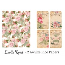 Lovita Roses Pack of 2 Rice Paper A4 By Get Inspired