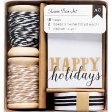 American Crafts Twine Boxes -Black, White & Kraft Tags, Twine, Ribbon