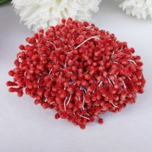 "Frosted Flower Stamens 2.25"" 100/Pkg - Ruby Red"