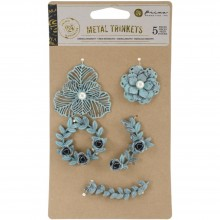 Metal Patina Trinkets Flowers & Vines Prima Marketing 5/Pkg
