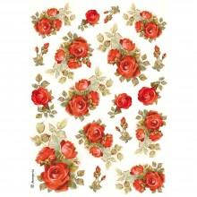 Red Roses Stamperia Rice Paper Pack A4