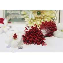 Matte Deep Red 2mm Head Size Flower making Stamens Stiff Thread Pollens