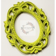 "Deco Neon Green Vine Carved Vintage Oval Frame 10""x8"""