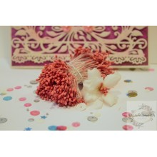 Orangish Pink 2mm Head Size Flower making Stamens Stiff Thread Pollens