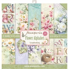 "Stamperia Double-Sided Paper Pad 12""X12"" 10/Pkg Flower Alphabet 10 Designs/1 Each"