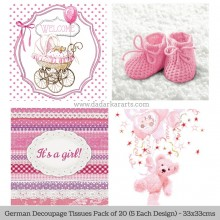 Baby Girl German Tissue Pk/20 (5 Designs Each) 33x33cms By Ambiente Luxury papers