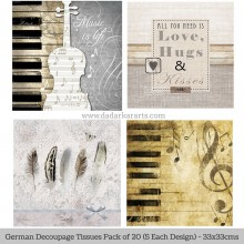 Love for music German Tissue Pk/20 (5 Designs Each) 33x33cms By Ambiente Luxury papers