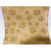 "Gold with Gold Glitter Snowflakes Celebrate It Rolls Extra Wide Metallic Mesh Ribbon 5.5""x 6 Yards"