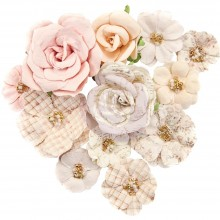 """Beautiful Frost Prima Marketing Lavender Frost Mulberry Paper Flowers 12/Pkg """