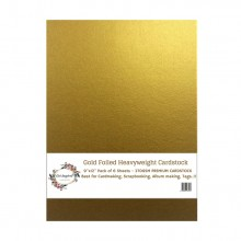 "Gold Foiled Heavyweight Cardstock 9""x12"" Pack of 6 Sheets - 270GSM"