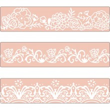 Sizzix Border Set By David Tutera Textured Impressions Embossing Folders 3/Pkg