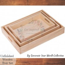 Unfinished Wooden Trays - Set of 3 By Decorate Your World Collection By Get Inspired