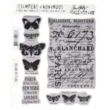 "Papillon Tim Holtz Cling Stamps 7""X8.5"""