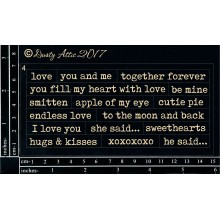"Wordplay XOXO BLACK 6""x3"" Chipboards"