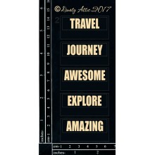 "Mini Tags #2 Travel Black 6""x3"" Chipboards"