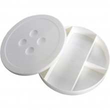 "Storage Box 9"" White Button Shaped"
