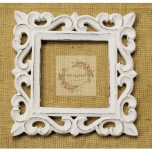 "Deco White Vine Carved Vintage Square Frame 9""x9"""