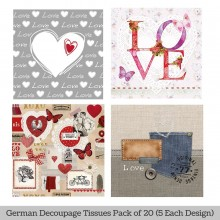 Vintage Love German Tissue Pk/20 (5 Designs Each) 33x33cms By Ambiente Luxury papers