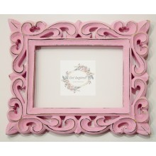 "Deco Pink Vine Carved Vintage Rectangle Frame 10""x8"""