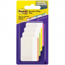 "Post-It Durable Filing Tabs 2""X1.5"" 24/Pkg Assorted Neon Colors"