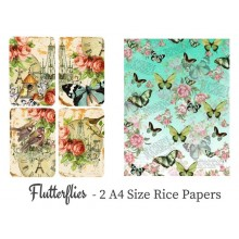 Flutterflies Pack of 2 Rice Paper A4 By Get Inspired